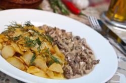Вешенки жареные с картофелем